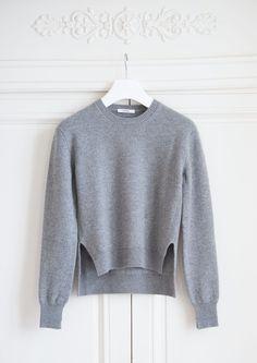 pull col rond en cashmere gris clair cline