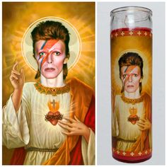 Saint David Bowie depicted on a 9 prayer candle. The perfect gift for Bowie fans. All of our candles are handmade in Wichita, KS using premium