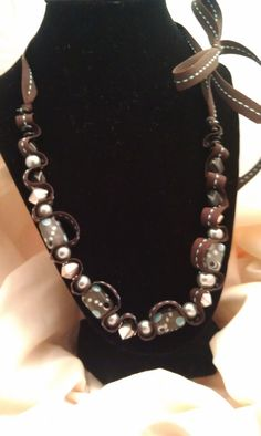 Painted bead and ribbon necklace  Blues and by AlyxAndreaDesign, $15.00