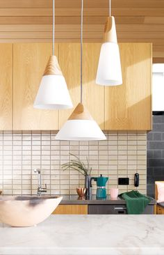 Beacon Lighting - Odense 1 light large coolie pendant in ash and frosted glass Kitchen Pendants, Kitchen Fixtures, Glass Kitchen, Beacon Lighting, Cool Lighting, Lighting Ideas, Island Lighting, Odense, Glass Pendant Light