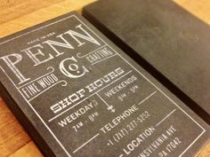 Business cards for a woodshop.    Screen Printed and Blind letterpress on French Paper's Black Muscletone. Hand sanded them to give each card a unique worn look.