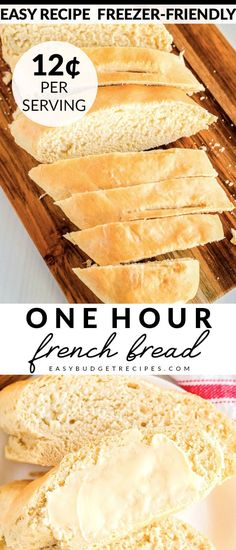 This French Bread recipe takes just one hour from start to finish It makes 2 large loaves for just 1 90 Each loaf serves 8 people each and will cost just 12 per serving via easybudgetrecipes Easy French Bread Recipe, Easy Bread Recipes, Steak Recipes, Vegan Recipes, Cooking Recipes, Turkey Recipes, Soup Recipes, Lasagna Recipes, Recipes