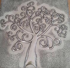Embossed pewter tree made by Jenny @ The Pewter Room