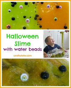 This homemade slime with water beads and googly eyes is a great sensory experience and a fun activity for Halloween!