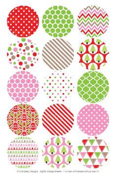 Christmas Red Pink Green Digital Bottle Cap Images – Erin Bradley/Ink Obsession Designs