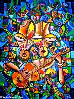 """""""This painting is all about two lovers who are deeply in love. They are learning how to play one guitar together. We all know that when love is common, there are so many funny things to do. On this piece I am trying to show how you can start with a guitar. Why not learn with your love how to play a guitar so you can play music together forever?!"""" - Angu Walters"""