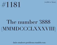 Latin Student Problems #1181 - the number 3888