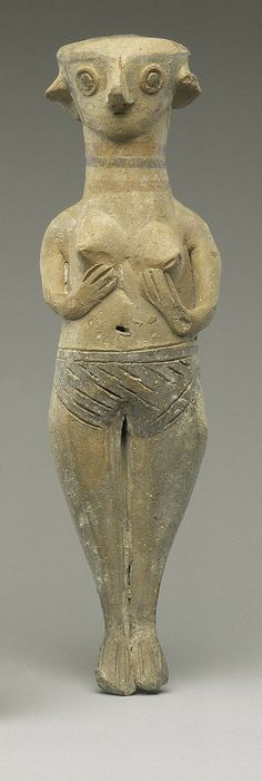 Terracotta statuette of a nude woman, The figurine is hollow. The groove on the left breast is accidental. Such figures were placed in tombs and may symbolize fertility and regeneration.