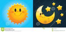 Illustration about Day and Night: Cute cartoon sun and moon with stars. Illustration of sunshine, evening, opposites - 30405691 Moon Cartoon, Cute Cartoon, Sun Clip Art, Sun Stock, Sun Logo, Cute Sun, Happy Sun, Moon Illustration, Cute Stars