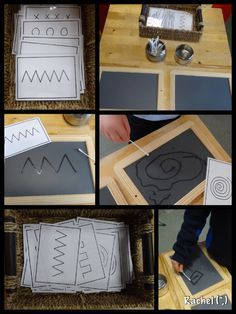 """Q-tip chalkboard writing/mark making Pattern cards (FREE printable) for mark making and early handwriting - from Rachel ("""",) Montessori Activities, Motor Activities, Preschool Activities, Montessori Materials, Writing Area, Pre Writing, Preschool Writing, Writing Activities, Finger Gym"""