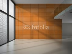 Empty room with wooden panel walls 3D rendering 4