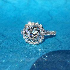 You were born to sparkle! Diamond Halo Engagement Ring by Shapiro Diamonds in Dallas.