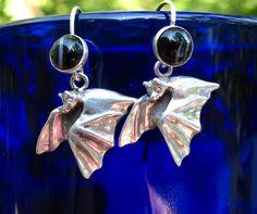 Little Bat Earrings with Black Agate Drop by diggersgoldjewelry, $68.00