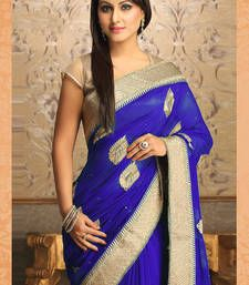 Buy  Gorgeous New Attractive Blue Designer Saree designer-embroidered-saree online