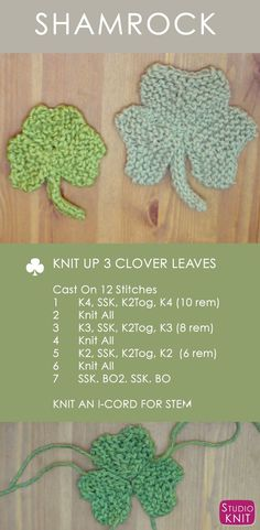 How to Knit a Shamrock Clover for St. Patrick's Day with Easy Free Knitting Pattern + Video Tutorial by Studio Knit via @StudioKnit