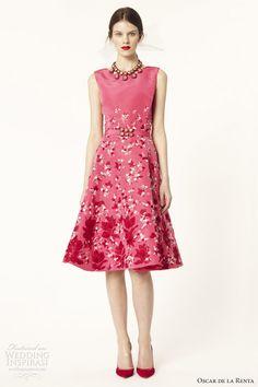 oscar de la renta 2014 resort sleeveless amaranth silk faille embroidered dress