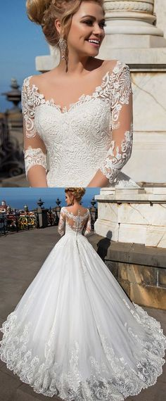 NEW! Wonderful Tulle & Organza V-neck Neckline Ball Gown Wedding Dresses With Lace Appliques
