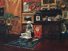 William Merritt Chase (American, 1849-1916) – Studio Interior, c.1882 (Oil on canvas. Brooklyn Museum) – Chase's paintings of the studio suggest his belief in a complete and passionate engagement with art. Characterized by rich colors and lively brushwork, the paintings appealed to an American audience increasingly under the sway of the British Aesthetic Movement, which above all championed the artistic appointment of interiors with a rich ensemble of decorated surfaces. - Németh György