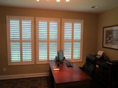 Plantation Shutters In A Home Office. Beautiful Look!