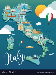 Italy map with attractive landmarks Royalty Free Vector , Italy Illustration, Travel Illustration, Travel Maps, Places To Travel, Places To Go, Italy Map, Italy Travel, Italy Italy, City Maps