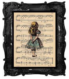 ALICE In WONDERLAND Vintage Art Print on Antique Sheet Music Page Alice in Wonderland Upcycled Recycled Art Print. $10.00, via Etsy.