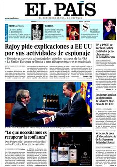 Los Titulares y Portadas de Noticias Destacadas Españolas del 26 de Octubre de 2013 del Diario El País ¿Que le pareció esta Portada de este Diario Español?