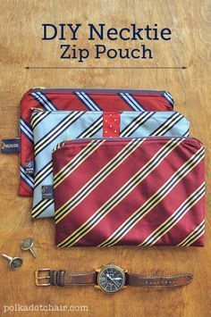 Free Upcycle Sewing Tutorial - Necktie Zip Pouch Pattern #Homemade #FathersDay #Gift