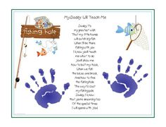DADDY Teach Me~FISHING Poem Print Baby / Child Handprints Father's Day Gift