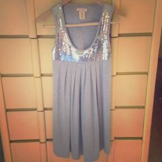 Sequined Grey Shift Dress