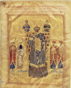 Nikephoros Botaneiates 1071-81 flanked by four courtiers in red and, above the throne, two angel-like figures - plate 3 in Byzantine Dress