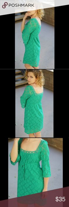 "Laundry by Shelli Segal green lace dress Adorable lace dress from Laundry by Shelli Segal. Excellent condition with no flaws.  Model is 5'3"" with a 32"" bust and 24"" waist Laundry By Shelli Segal Dresses Midi"
