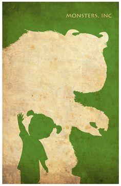 Pixar Minimalist Vintage Poster Set A Monsters by Posterinspired