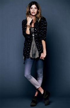 Cozy & Casual: Free People Jacket, Metallic Tank Dress & Ombre Jeans