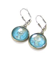 Turquoise Grey Disc Dangle Earrings Leverback by JKCJewelry, $13.00