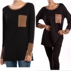 2 left ❗️Black long sleeve tops Medium sold out❗️Black long sleeve tops with faux suede details at pocket and cuffs. Please do not purchase this listing. Comment with size and I will create a new listing for you. Small (2/4) Medium (6/8) Large (10/12) - Price is firm unless bundled. Tops