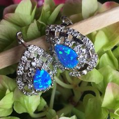 925 Silver Blue Fire Opal & Cubic Zirc Earrings 925 Silver Blue Fire Opal & Cubic Zirconia Leverback Earrings Hallmarked 925 Jewelry Earrings