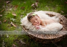 I love this precious sleeping baby in the basket with the elements around.  The grass is vibrant, and the leaves give it such natural beauty. #kimberlingray