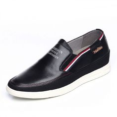 2016 premium men elevator loafers 6cm / 2.36inch black slip on board shoes