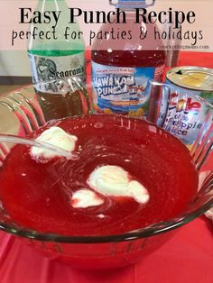 This year for Peyton's grade class party we decided to serve a punch to the kids. They LOVED it! They thought it was not only delicious but they also felt grown up and enjoyed Red Punch Recipes, Punch Recipes For Kids, Alcoholic Punch Recipes, Alcoholic Desserts, Sherbet Punch, Rainbow Sherbet, Rainbow Chard Recipes, Brunch Punch, Yummy Drinks