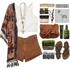 Fringe kimono, white tank, tan cutoffs, black strappy sandals, tan cross body bag.
