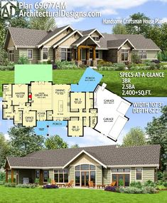 Architectural Designs Craftsman House Plan has 3 beds Craftsman House Plans, New House Plans, Dream House Plans, Small House Plans, House Floor Plans, Craftsman Ranch, The Plan, How To Plan, Architecture Plan