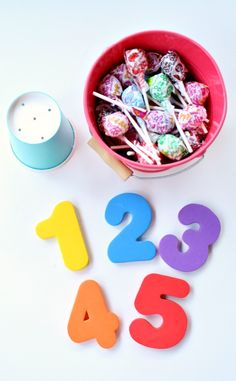 Lollipop Math~Practice counting, comparing, and number bonds with these low-prep math activities Numbers Preschool, Preschool Math, Math Numbers, Math Classroom, Kindergarten Math, Teaching Math, Preschool Ideas, Math Activities For Kids, Math For Kids