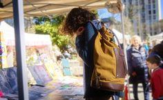 """Bottiglito"" backpack at the botanic market in Cremona"