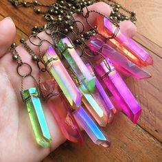 24K Gold Plated Brass Hand Wrapped Angel Aura Quartz Point 18 Layering Necklace