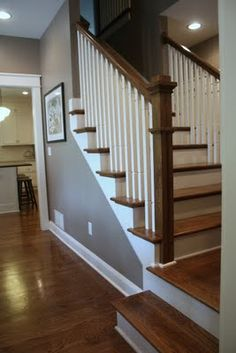 staircase/ tread colour & white paint, just like this