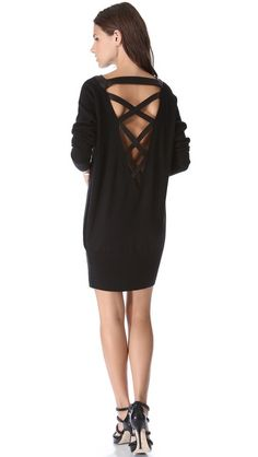 Skaist Taylor Crisscross Back Sweater Dress- wear with black pointy toe strappy shoes
