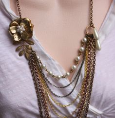 MIxed Metal Flower Necklace , Mix Chain Necklace , Mixed Chain Jewelry, Vintage jewelry. $64.00, via Etsy.