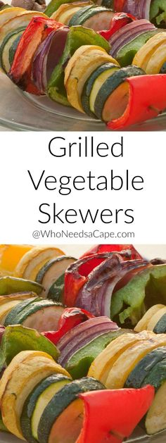 Grilled Veggie Skewers are perfect for meat free nights or as a side dish - a MUST pin!