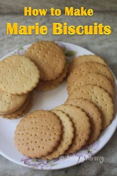 Marie biscuits can be made easily at home. This biscuits taste so good just like the real ones. This biscuits can be stored in a air tight container for 3 to 4 days. Bourbon Biscuit Recipes, British Biscuit Recipes, Bourbon Biscuits, British Biscuits, Tea Biscuits, Marie Biscuits, Eggless Biscuits, Oatmeal Biscuits, Sweets
