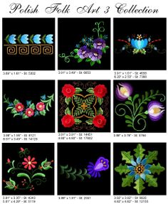 9 Polish Folk Art Designs Floral PES Jef HUS Etc | eBay Pisanki inspiration